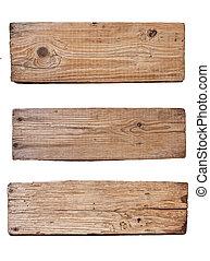 Stará dřevěná deska izolovaná na bílém pozadí