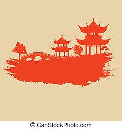 Starý papír s asijskými krajinami
