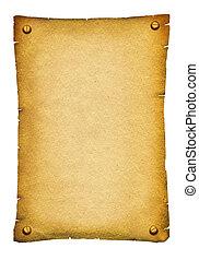 Starý papírový text. Starožitný svitek pro text o bílém
