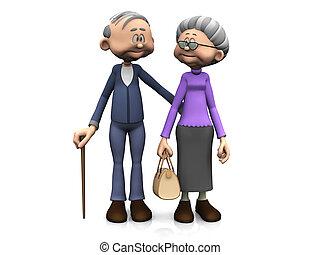 Starší animovaný pár.