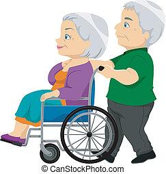 starší, dáma, židle na kolečkách, dávný, dvojice