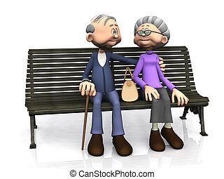 Starší párek na lavičce.