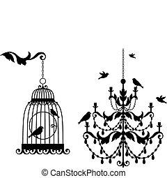 Starožitká ptačí a lustr
