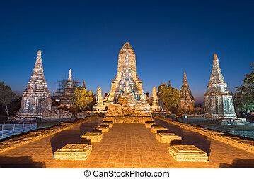 starobylý, chaiwatthanaram, buddhista chrám, sad, historický, thajsko, wat, ayutthaya