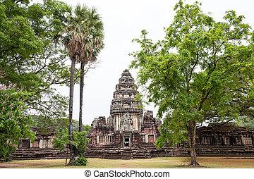 starobylý, druh, sad, nakhon, ratchasima, pimai, historický, thajsko, věž, věž