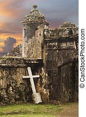 starobylý, kříž, tvrz