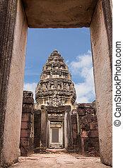 starobylý, okna, sad, nakhon, ratchasima, pimai, historický, thajsko, věž, názor, věž
