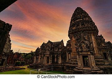 starobylý, sad, architecture., klasický, krajina, nakhon, poloha, sky., stavení., khmer, destinations., západ slunce, pohybovat se, historický, phimai, ratchasima, chrám, ancient., dějinný, thailand., mezník