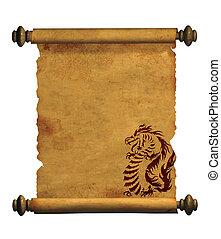 starobylý, tabule, pergamen