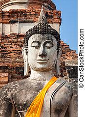 starobylý, yai, chaimongkol, buddha, wat, ayutthaya