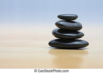 stones, dřevěný, zen, vynořit se
