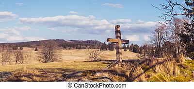 stones, grafické pozadí, dřevěný, krajina, les, louka, kříž