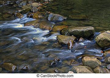 stones, hora, malý, vodopád, řeka