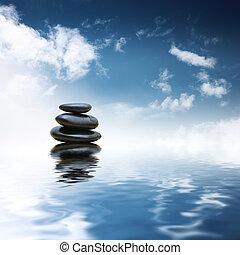 stones, namočit, nad, zen