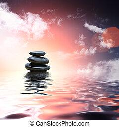 stones, namočit, zrcadlit, zen, grafické pozadí