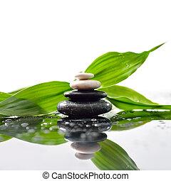 stones, pyramida, list, zen, vynořit se, nezkušený, nad, waterdrops