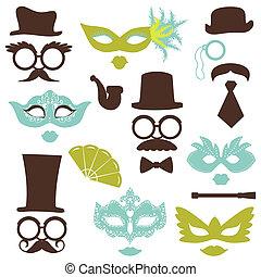 strana, dát, brýle, omočit si rty, -, masky, vektor, za, fotografie, kniha k nalepování výstřižků, bouda, klobouky, design, kníry