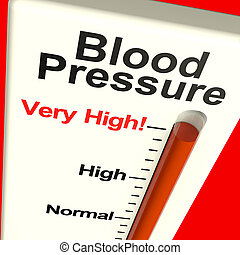 stres, hypertenze, velmi, silný nátlak, showing, krev