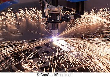 stroj, průmyslový, výstřižek, plazma