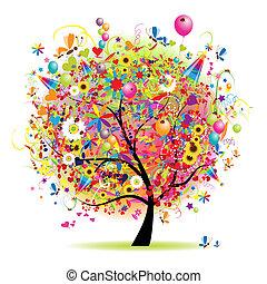 strom, šťastný, dovolená, komický, obláček