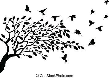 Strom a ptačí silueta