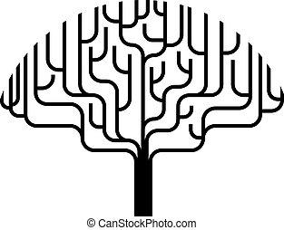 strom, abstraktní, silueta, ilustrace