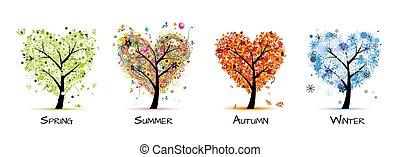 strom, překrásný, -, pramen, léto, 4 období, tvůj, design, umění, podzim, winter.