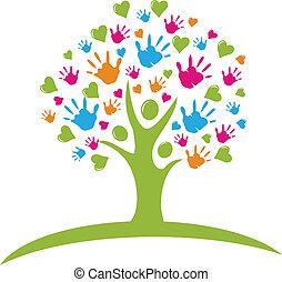 Strom s rukama a srdcovými čísly