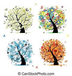 strom, tvůj, pramen, winter., odbobí, -, podzim, léto, umění, čtyři, design, překrásný