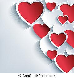 Stylanský valentýnský den s třetou červenou a šedou srdíčkou