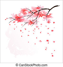 stylizovaný, třešeň, japonština