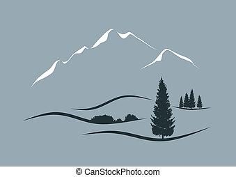 stylizovaný, vektor, krajina, ilustrace, vysokohorský