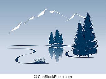 Stylovaná ilustrace ukazuje řeku a horskou krajinu