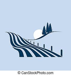 Stylovaná ilustrace ukazuje agraranskou krajinu