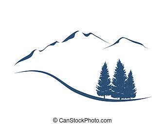 Stylovaná ilustrace ukazuje alpinskou krajinu s horami