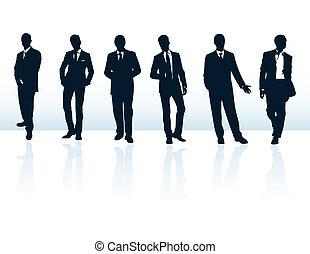 suits., více, obchodník, konzervativní, silhouettes, můj, dát, vektor, ponurý, gallery.