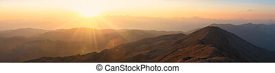 sunset., panoráma, hory