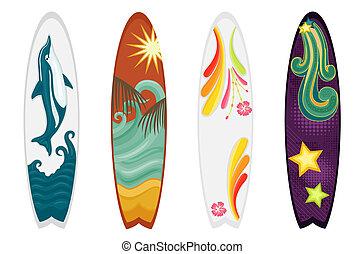 surfboards, dát, čtyři