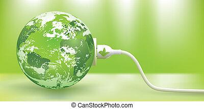 sustainable, vektor, energie, nezkušený, pojem