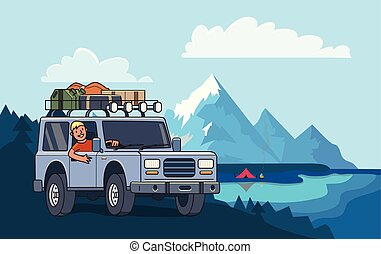 Suvový vůz s kufrem na střeše a s úsměvem za volantem. U jezera u jezera. Vektorová ilustrace. To je styl. Horizontální.