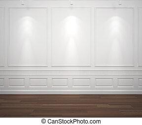Světla na bílé zdi