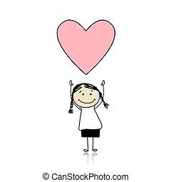 Svatá valentýnka - rozkošná holka držící srdce