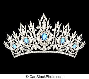 Svatba korunek z koruny, s modrými kameny