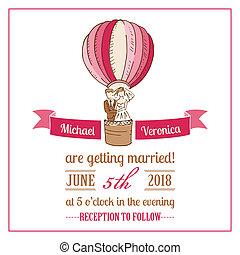 svatba, -, vektor, pozvání, kniha k nalepování výstřižků, design, karta