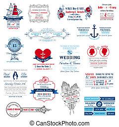 svatba, -, vybírání, vektor, pozvání, kniha k nalepování výstřižků, design