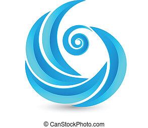 swirly, emblém, vlání, ikona
