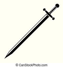 sword., vektor, ilustrace