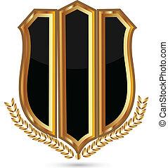 symbol, chránit, zlatý, emblém