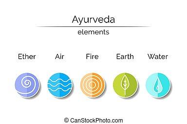 symbol, lineární, ayurvedic, style.