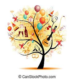 symbol, strom, šťastný, oslava, dovolená, komický